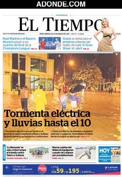 Portada de Diario El Tiempo Piura