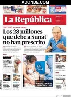 Portada de Diario La República Lima Perú