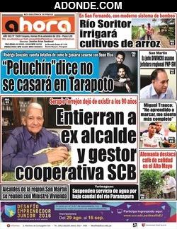 Portada de Diario Ahora de Tarapoto, San Martín