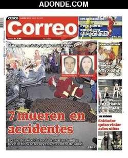 Portada de Diario Correo del Cusco