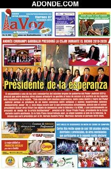 Portada de Diario La Voz de Huamanga Ayacucho