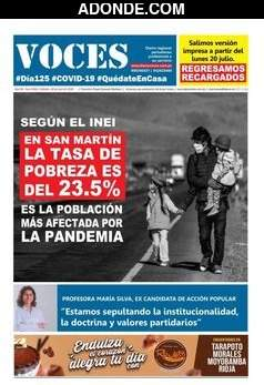 Portada de Diario Voces de Tarapoto, San Martín