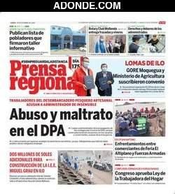 Portada de Diario La Prensa de Islay de Arequipa