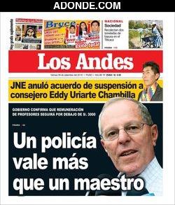 Portada de Diario Los Andes de Puno
