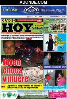 Portada de Diario Hoy de Tarapoto San Martín