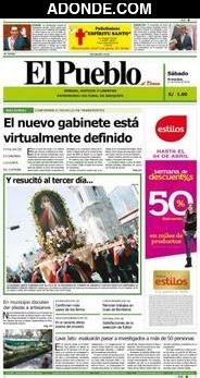 Portada de Diario El Pueblo de Arequipa