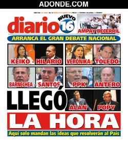 Portada de Diario 16 Perú