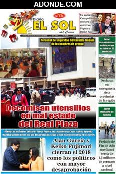 Portada de Diario El Sol del Cusco
